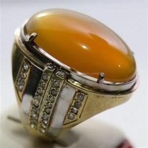 Cincin Permata Natural Raflesia 120.70 ct (dengan ring) Oval Cabochon Orange Kekuningan No Treatment