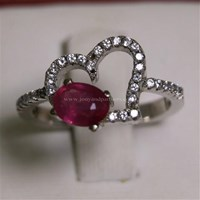 Cincin Permata Natural Ruby 1.05 ct Oval Brilliat Merah Pink Heated (C) 1