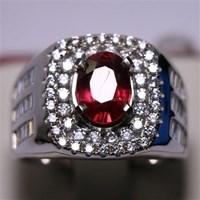 Cincin Permata Natural Ruby 2.88 ct Oval Brilliat Merah Heated (C) 1