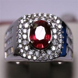 Cincin Permata Natural Ruby 2.88 ct Oval Brilliat Merah Heated (C)
