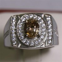 Cincin Permata Natural Sherry Topaz 1.41 ct Oval Mixed Brilliat Coklat No Treatment 1