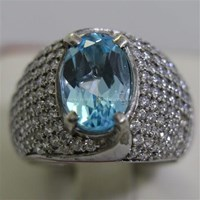 Cincin Permata Natural Blue Topaz 3.98 ct Oval Mixed Brilliant Biru No Treatment 1