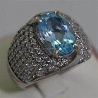 Beli Cincin Permata Natural Blue Topaz 3.98 ct Oval Mixed Brilliant Biru No Treatment 4