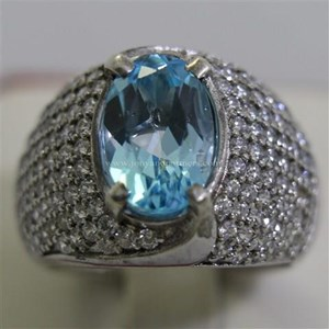 Cincin Permata Natural Blue Topaz 3.98 ct Oval Mixed Brilliant Biru No Treatment