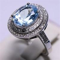 Jual Cincin Permata Natural Blue Topaz 25.01 ct (dengan ring) Oval Mixed Brilliant Biru No Treatment 2