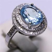 Cincin Permata Natural Blue Topaz 25.01 ct (dengan ring) Oval Mixed Brilliant Biru No Treatment 1