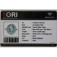 Distributor Cincin Permata Natural Blue Topaz 25.01 ct (dengan ring) Oval Mixed Brilliant Biru No Treatment 3