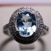 Beli Cincin Permata Natural Blue Topaz 25.01 ct (dengan ring) Oval Mixed Brilliant Biru No Treatment 4