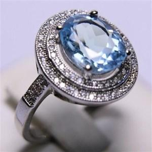 Cincin Permata Natural Blue Topaz 25.01 ct (dengan ring) Oval Mixed Brilliant Biru No Treatment