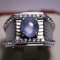 Beli Cincin Permata Natural Star Safir 3.56 ct Oval Cabochon Biru Sri Lanka No Treatment 4