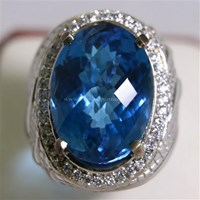 Beli Cincin Permata Natural Blue Topaz 25.52 ct Oval Mixed Cut Biru Irradiated 4