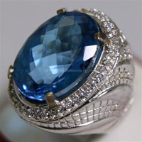 Jual Cincin Permata Natural Blue Topaz 25.52 ct Oval Mixed Cut Biru Irradiated 2