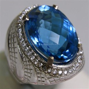 Cincin Permata Natural Blue Topaz 25.52 ct Oval Mixed Cut Biru Irradiated