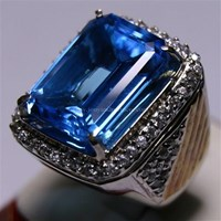 Distributor Cincin Permata Natural Blue Topaz 22.93 ct Persegi Delapan Step Cut Biru Irradiated 3