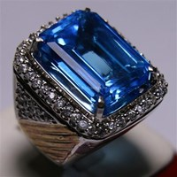 Beli Cincin Permata Natural Blue Topaz 22.93 ct Persegi Delapan Step Cut Biru Irradiated 4