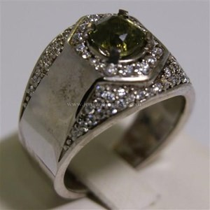 Cincin Permata Natural Yellow Safir 1.86 ct Persegi Brilliat Kuning Keabuan Madagascar No Treatment