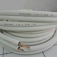 Pipa Ac Tateyama JP 4620 ukuran  1/2″ ( tebal 0.65mm) + 3/4″ ( tebal 0.80) panjang 20 meter 1