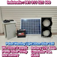Lampu LED Warning Light 20cm Paket Solar Cell