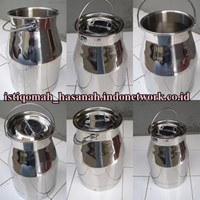 Ember Milkcan Stainless - Wadah Susu Stainless - Ember Stainless + Tutup - Milkcan Stainless Kapasitas 15 Liter - Can Milk Stainless