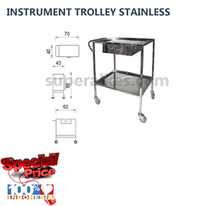 Meja Stainless Troli Meja Instrument 1 Laci stainless