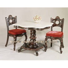 Indoor Furniture Carving Chair And Table With Marble Top