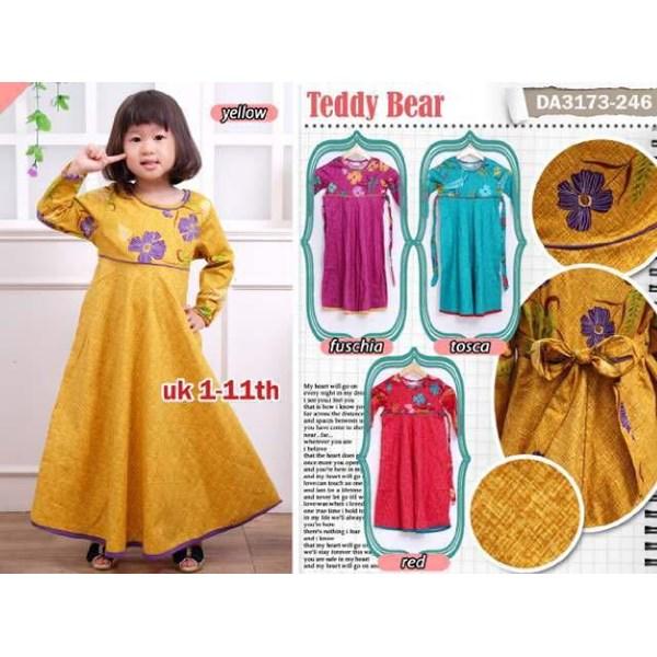 Jual Gamis Teddy Bear 3173 Anak Kombinasi Bunga Polos Bahan Katun Strect
