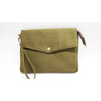 Canvas Material Army Clutch