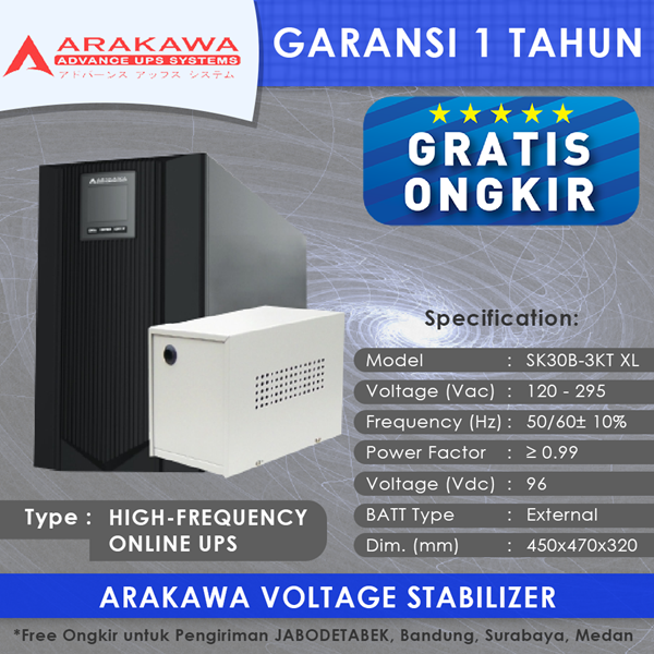 UPS ARAKAWA ON-LINE SK30B 3KVA-XL