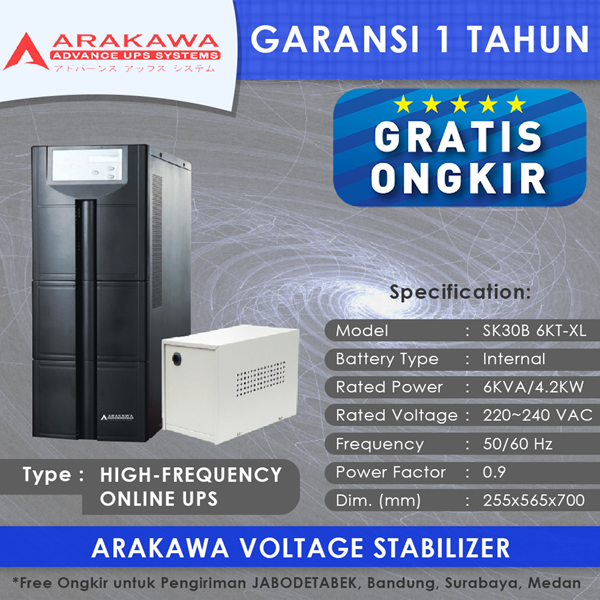 UPS ARAKAWA ON-LINE SK30B 6KVA-XL