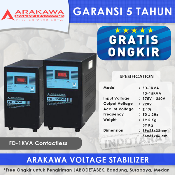 STABILIZER ARAKAWA FD 1 PHASE FD-3KVA CONTACTLESS