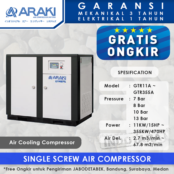 Kompresor Angin Araki Screw Air Cooling GTR11A - 13 Bar