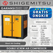Kompresor Angin Double Screw Direct Air Cooling JG-75A - 12 Bar
