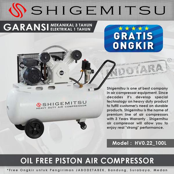 Compressor Oil Free Wind Shigemitsu HV-0.22 Tank 100L 3HP