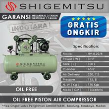 Kompresor Angin Oil Free Shigemitsu HV-0.22-8  Tank 100L 3HP