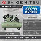 Kompresor Angin Oil Free Shigemitsu HW-0.30-8 Tank 110L 4HP 1
