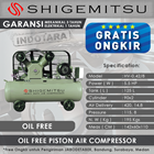 Kompresor Angin Oil Free Shigemitsu HV-0.42-8 Tank 125L 5.5HP 1