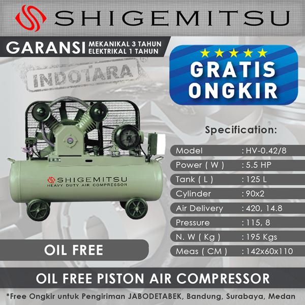 Kompresor Angin Oil Free Shigemitsu HV-0.42-8 Tank 125L 5.5HP