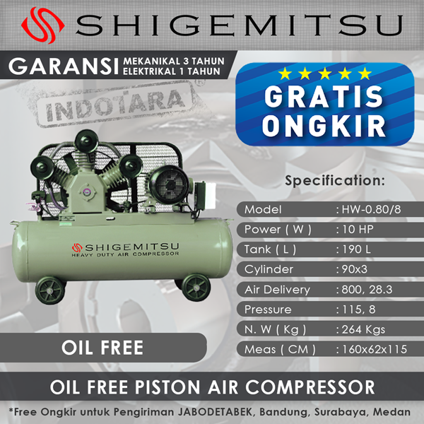 Kompresor Angin Oil Free Shigemitsu HW-0.80-8 Tank 190L 10HP