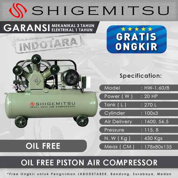 Kompresor Angin Oil Free Shigemitsu HW-1.60-8 Tank 270L 20HP