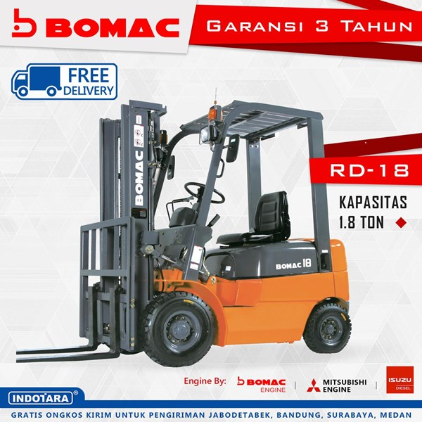 Forklift Bomac RD-18 Kapasitas 1.8 Ton