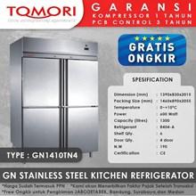 Lemari Pendingin Kulkas Stainless Steel Eksklusif TOMORI GN1410TN4