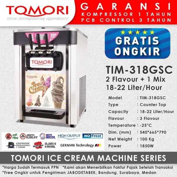 Mesin Pembuat Es Krim 3 Tuas (Rainbow Ice Cream) TOMORI TIM-318GSC