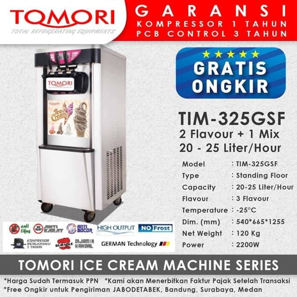 Mesin Pembuat Es Krim 3 Tuas (Rainbow Ice Cream) TOMORI TIM-325GSF