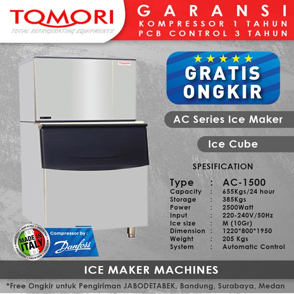 Mesin Pembuat Es Kubus AC-1500 TOMORI ICE CUBE