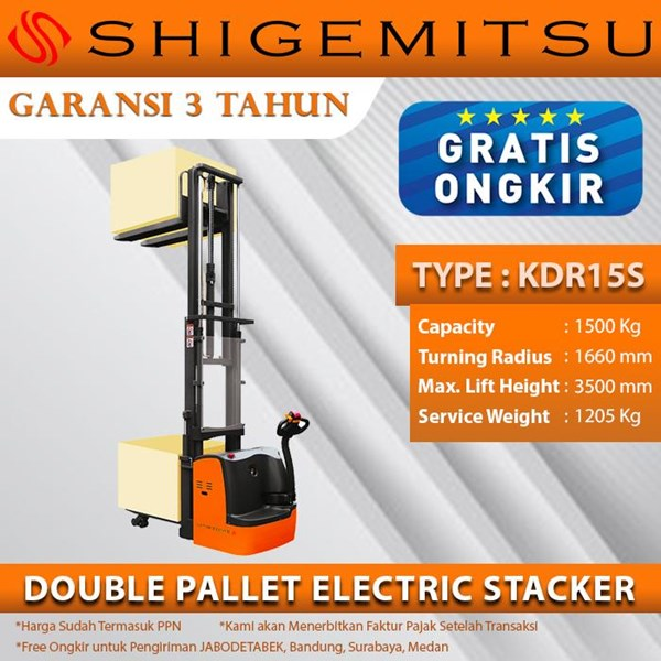 Shigemitsu Double Pallet Electric Stacker KDR15S-II-1150-3500