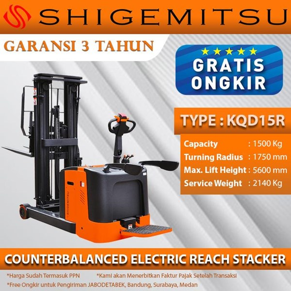Shigemitsu Counterbalanced Electric Reach Stacker KQD15R-1150-5600