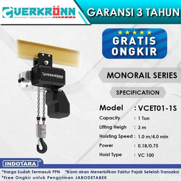 Electric Wire Rope Hoist Verkronn VC Monorail Series VCET01-1S