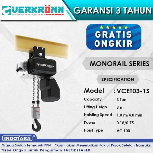 Electric Wire Rope Hoist Verkronn VC Monorail Series VCET03-1S