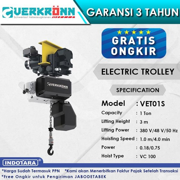 Electric Wire Rope Hoist Verkronn VC Electric Trolley VET01S 1T
