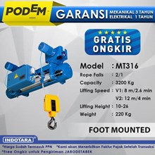 Electric Wire Rope Hoist Podem Foot Mounted MT316 (2 Rope Falls)